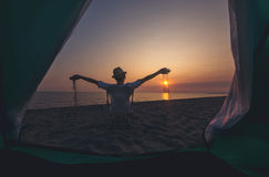 Camping on the beach sea. stock images