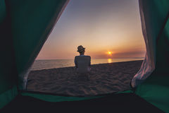 Camping on the beach sea. stock photography
