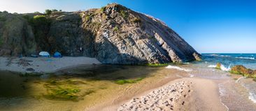 Camping on the beach of Sinemorets, Bulgaria, Eastern Europe Royalty Free Stock Photography
