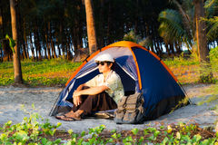 Camping on the beach Stock Photography