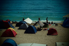 Camping on the beach in Vama Veche Stock Photos