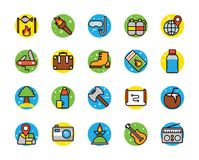 Camping And Beach Vector Icons. An enticing colorful flat icons pack of beach and camping. The elements are well designed representing beach, camping equipments Stock Photo