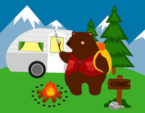 Camping Bear Royalty Free Stock Photo