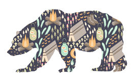 Camping Bear. A silhouette of a grizzly bear with a camping themed pattern inside Stock Photography