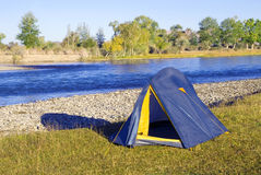 Camping by The Beautiful River Summer Concept Stock Photos