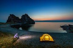 Camping at beautiful sunset Stock Photos