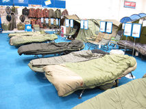 Camping beds display in a store. Stock Photo