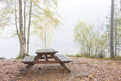 Camping bench and table in misty forest Royalty Free Stock Image