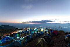 Camping on the big mountain in Phu Tub berk of Thailand as tourist style with sunrise sky Stock Photo