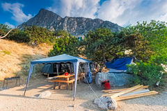 Camping on the Black Sea. Bay of Laspi. Royalty Free Stock Images