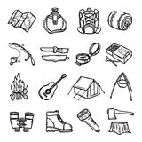 Camping Black White Icons Set. With tent rucksack and map flat isolated vector illustration Royalty Free Stock Photo