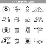 Camping black and white icons. Vector illustration Stock Image