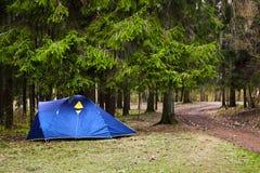 camping Blauwe toeristentent in het bos royalty-vrije stock foto's