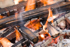 Camping bonfire fragment close-up view Royalty Free Stock Images