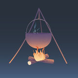 Camping bonfire illustration. Camping bonfire with heating kettle  illustration. eps10 Stock Photo