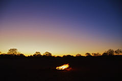 Camping Bonfire in Outback Stock Photo
