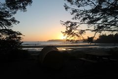 Camping Bonfire Sunset Surf Good Vibes stock images