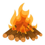 Camping bonfire from tree trunks vector illustration isolated on white Stock Image