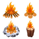 Camping bonfire from tree trunks vector illustration isolated on white Royalty Free Stock Photos