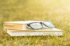 Outdoor recreation reading a book. Camping with a book. Books and glasses lie on the green grass. A gleam of the sun, light on the background stock photo