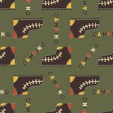 Camping boot seamless pattern. Mixed flat with disstressed style. Simple hiking equipment design. Stock vector wallpaper. Background isolated on green stock illustration