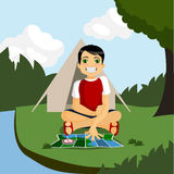 Camping boy Royalty Free Stock Photo