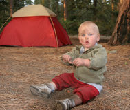 Camping boy Royalty Free Stock Images