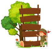 Camping boy with empty wooden sign post. Illustration vector illustration