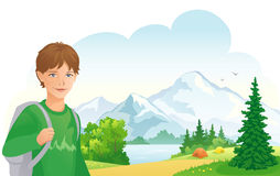 Camping boy Royalty Free Stock Image