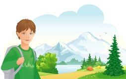Camping boy. Illustration of a boy camping at the mountain lake Royalty Free Stock Image