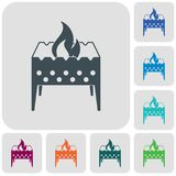 Camping brazier icon. Vector illustration Royalty Free Stock Images