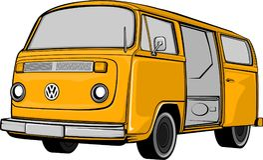 Camping bus or camper van  illustration. Background Stock Images