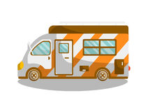 Camping bus or camper van motorhome car or vehicle. Vector  icon. Holiday trip or travel mobile coach Stock Photo
