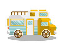 Camping bus or camper van motorhome car or vehicle. Vector  icon. Holiday trip or travel mobile coach Stock Images