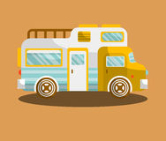 Camping bus or camper van motorhome car or vehicle. Vector  icon. Holiday trip or travel mobile coach Royalty Free Stock Images