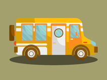 Camping bus or camper van motorhome car or vehicle. Vector isolated icon. Holiday trip or travel mobile coach Royalty Free Stock Photo