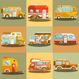 Camping bus or camper van vector illustration Royalty Free Stock Photos