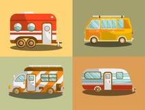 Camping bus or camper van vector illustration Stock Images