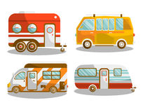 Camping bus or camper van vector illustration Stock Photography