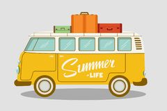 Camping bus or camper van vector illustration. School bus. Vector flat concept on the theme of summer vacation royalty free illustration
