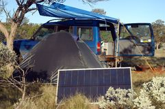 Camping in the bush stock images