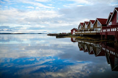 Camping cabins on a fjord Stock Photo