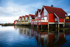 Camping cabins on a fjord royalty free stock photo