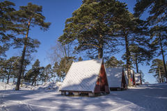 Camping cabins on Fredriksten Royalty Free Stock Images