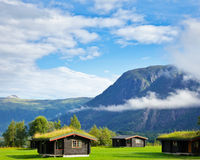 Camping cabins in Scandinavia Stock Photo