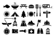Camping and Camp Food Vector Icon Set Royalty Free Stock Photos
