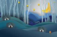 Camping and Campfire, Pine forest and mountains background, star royalty free illustration