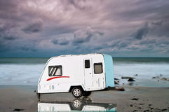 Camping car on the beach stock images