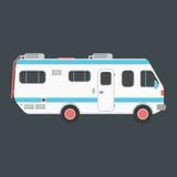 Camping-car blanc de voyage sur le fond foncé Images stock