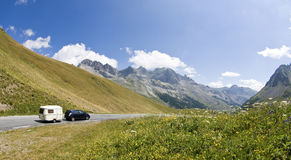 Camping car in french alps. France. Royalty Free Stock Photo